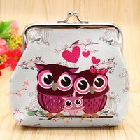 Atacado- Mulheres Retro Owls Small Mini Change Wallet Hasp Clutch Coin Storage Purse Bag