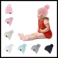 Wholesale Tennis Candy - Sweet 6 Candy Colors CC Winter Warm Beanie Knitted Chunky Skull Caps Slouchy Crochet Hats for Kids