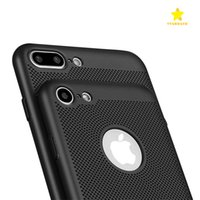 Wholesale Phone Case Dot - Matte Shell Phone Case Heat Dissipation Mesh Net Phone Cover Full Cover Grid Hollow Out Dot Back Cover for iPhone7 7plus 6s plus