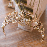 Wholesale Tiaras Headpieces Bridal - Vintage Gold Baroque Crowns For Party 2017 Pearls Wedding Crown Tiaras With Plant Pattern Cheap Bridal Headpiece Flowers Crown Headband