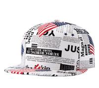 Wholesale Newspaper Letters - Climate New American President USA flag Newspaper Trump PU Snapback Cap Baseaball Hat For Men Women Sport Hip Hop Bone Sun Cap TOP1473