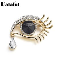 Wholesale Eye Pins For Jewelry - Wholesale- Charm Evil Eye Tear Drop Crystal Rhinestone Brooch Pin Clothes Accessories Jewelry Brooches For Wedding Z021