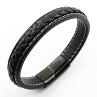 Wholesale Unique Steel Bracelet - Unique Stainless Steel Bracelets & Bangles Mens Gift Black Leather Knitted Bracelet Jewelry