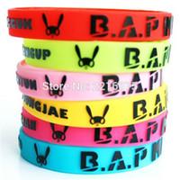 Wholesale K Bar Wholesale - Wholesale- 60pcs 6 colors even mix K-POP B.A.P BAP wristband silicone bracelets free shipping