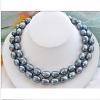 "Wholesale Gray Pearl Beaded Necklace - NOBLEST RARE NATURAL 12-15MM SOUTH SEA BLACK BLUE PEARL NECKLACE 35"" GOLD CLASP"