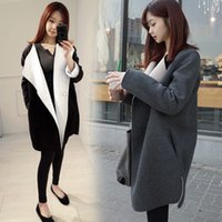 Wholesale Temperament Coats - 2017 New Spring Autumn Clothing Arrival Simple Temperament Long Woolen Coat Slim Was Thick Slim Woolen Coat Tops for Women