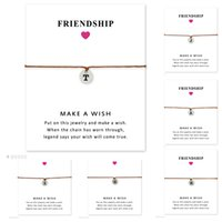 Wholesale Personalized Gifts For Graduations - Silver Personalized Jewelry Initial Disc Charm Name Letter Alphabet Bracelets Gift for Mom Graduation Gift Women Girls Adjustable Friendship