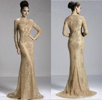 Wholesale Hot Sweetheart Mermaid - Champagne Hot Mother of the Bride Dresses Crew Neck Lace Long Sleeve Illusion Appliques Beads Mermaid Prom Gowns JQ3411