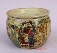 Wholesale Ceramic Tea Canisters - In the late Qing Dynasty antique tea canister pastel ladies Jingdezhen antique porcelain collection manual.