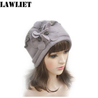 Wholesale Womens Red Wool Beret - Wholesale- A125 Khaki Flower waves trimmed Womens Wool Beanie Cap Dress Crochet Warm Hat