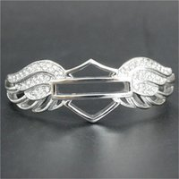 Wholesale Dropship Charms - Support Dropship Newest Design Motorcycles Crystal Bracelet 316L Stainless Steel Biker Fashion Jewelry Lady Girls Wings Bracelet