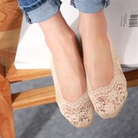 chinelos de renda meia venda por atacado-14 pcs = 7 pares / lote de fibra de Bambu meias de Renda das mulheres meias invisíveis antiderrapante verão de alta qualidade chinelo mulher senhora feminino sox