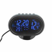 ingrosso monitor della tensione della batteria-Nuovo 2 in 1 12V / 24V Digital Auto Car Termometro + Car Battery Voltmetro Voltage Meter Tester Monitor + orologio elettronico