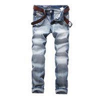 Wholesale Flying School - Wholesale-School Sky Blue Jeans Men Slim Straight Denim Jeans Ripped Trousers plus size 29-40 Quality water Washed Brand Men`s Jeans A981