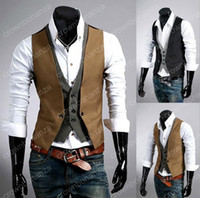 Wholesale Double Breasted Black Mens Vest - New Style Men's Vests Fashion Plaid Pattern Slim Fit Vest Men Faux Two Piece Male Social Vest Casual Mens Outerwear Vests M-XXL