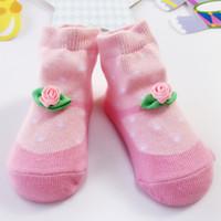 Wholesale Dots Point Socks - INS 2017 Autumn Roses Flowers Baby Socks Pink Wave Point Girls Socks Dot Jacquard Weave Princess Gift Cotton Socks Children Kids Gift 135