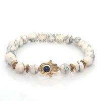 weißgold hamsa armband großhandel-Modeschmuck Großhandel 8mm Weiß Türkis Naturstein Perlen Fatima Hand Hamsa Stretch Elastic Mens Armband