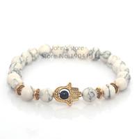 hamsa hände perlen großhandel-Wholesale-8mm Weiß Türkis Naturstein Perlen Fatima Hand Hamsa Stretch Elastic Mens Armband