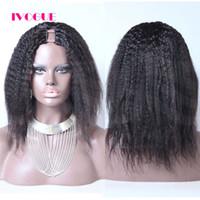 peluca mongol virgen parte al por mayor-Pelucas de cabello humano rizado mongol derecho de la Virgen U Pelucas de cabello humano medio Upart pelucas sin tapa para las mujeres negras