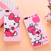 Wholesale Cartoon Hard Plastic Back Cover - Cartoon Case For iPhone 7 7Plus 6 6s 6Plus 6sPlus 3D Embossed Hello Kitty Phone Case Cute Cartoon Hard PC Back Cover