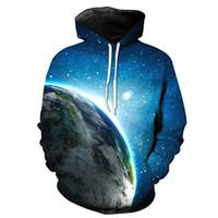 Wholesale Wholesale Pullover For Men - Wholesale- Mens 3D Galaxy Universe Digital Print Hoodies Sweatshirts For Boy's Novelty Long Sleeve Pocket Pullovers Hooded Sweatshirt Tops