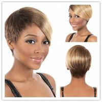 Wholesale cheap short blonde wigs - Xiu Zhi Mei Short Bob Cheap Mix Brown Blonde Synthetic Hair Wigs Side Bang Wig for Women