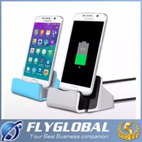 Wholesale Desktop Charging Dock - Dock Charger USB Sync Data Cable Docking Station Charging Desktop Cradle Stand for iphone Android Type-c Mobile Phones Universal free dhl