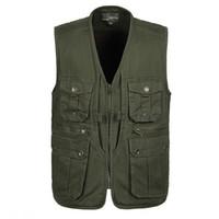 Wholesale Photography Works - Wholesale- Photographers Working Vest Men's Casual Cotton Multi-Pocket Vest Male Photography Work Vest Plus Size A805