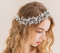 Wholesale Wholesale Faux Pearl Garland - artificial garland crown bridal hair accessories bridal headbands wedding headdress for bride dress headdress accessories pearl headpieces