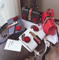 Wholesale Hard Street Bags - wholesale brand handbag new fashion leather handbag embroidered flowers stereo stripe portable single shoulder bag street style embroidery b