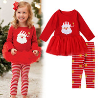 Wholesale Cheap Santa Claus Suits - Cheap wholesale children's home service, Europe and the United States holiday children Santa Claus printed striped trousers skirt suit Chris
