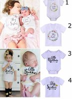 Wholesale boys brother - NEW ARRIVAL sister brother t shirt romper 100%Cotton letter print T shirt romper sister brother sets free shipping
