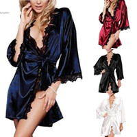 Wholesale women mini g string - Lingeries Woman Sexy Underwear With G-String Robe New 2018 Retro Short Half Sleeve Lace Patchwork Above Knee Mini Sleepwear Nightwear