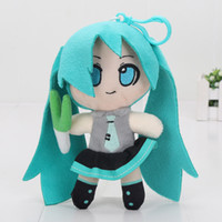 "Wholesale Anime Figure Vocaloid - 6"" 16CM VOCALOID Hatsune Miku Smiling Japan Anime Plush Toy Dolls For Children Gifts Keychains Pendants Soft Stuffed Toys"