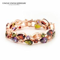 Luxury Mona Lisa Pulsera Multicolor Color Oro Rosa Brillante Cristal de Zirconia Totalmente Embutido Mujer Pulsera Al Por Mayor Regalo Perfecto
