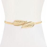 Wholesale Decorative Chain Metal Belt - Wild Decorative Leaves Lady Waist Chain Female Fine Metal Belt Elastic Stretch Belt