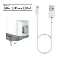 Wholesale Iphone Cable Mfi - HXINH CoolPowr 3.4A(17W) MFi Certified AU Travel Home Wall Charger Kit for iPhone 5 6 7 Plus iPad air pro with a 1M Lightning to USB cable