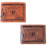 Wholesale money passports - Hot Sale 1pc lot Men Pockets Card US Dollar Bill Money Wallet Funny Foldable PU Dollar Wallet 2 Colors GI870627