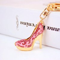 Wholesale Crystal Shoe Gift - Crystal High Heels Shoes Key Chains Rings Holder Flower Enamel Bag Pendant For Car Gift Rhinestone Keyrings KeyChains K289