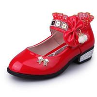 Wholesale Kids Purple Dress Shoes - 2017 Baby Pink Infant Girls Dress Wedding Shoes Kids Leather Children Toddler Footwear Fashion Casual Princess