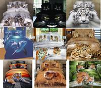 Wholesale 3d Tiger Print Duvet Queen - Wholesale-LUXURY 100%cotton 3D animal leopard rose tiger wolf lion bedding bed sheet set bedclothes duvet cover set bedding set