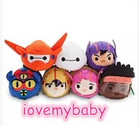 Wholesale Armor Wipes - NEW Tsum Tsum Big Hero Red Armor Baymax Hiro Gogo Honey Wasabi Fred Mini Plush Doll Phone Screen Wipe