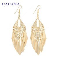 Wholesale Long Skirts Styles For Women - CACANA Gold Plated Dangle Long Earrings For Women Tassel Skirt Style Top Quality Bijouterie Hot Sale No.A620A621