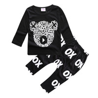 Wholesale Down Boy Set - ins hot sale baby spring autumn clothes sets boys cute cartoon little bear long sleeve t shirt with matching long pants 2pcs sets