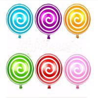 lolipop balonları toptan satış-Çevre Dostu 18 İnç Karikatür Balonlar Şeker Renk Alüminyum Folyo Balon Çocuk Oyuncakları doğum günü partisi Düğün Dekorasyon Lolipop şeklindeki