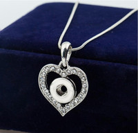Wholesale Cheap Heart Shaped Necklaces - 12MM Snap Button NECKLACE PENDANT White Gold Plated Heart Shaped with Crystal Interchangeable Noosa Ginger Jewelry Cheap Price 20pcs