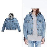 Wholesale Men Hooded Jean Jacket - 2018 Vintage Mens Jackets And Coats Justin Bieber Denim Jacket Brand Clothing Blue Jean Jacket For Men Mans Coat short style