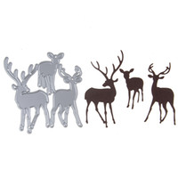 Wholesale Christmas Card Templates - Customized Christmas Deer Set Metal Steel Embossing Template Cutting Die Stencil For DIY Scrapbooking Card Album Craft
