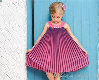 Wholesale Style Gradual - 2017 new arrivals girls Sleeveless gradual change Pleated Chiffon Skirt dress girl's elegant summer Dresses