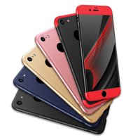 Wholesale Iphone New Hybrid Slim - Phone Case 360 Degree 3 in 1 Matte Shell Frosted Hybrid Slim ShockProof Back Cover for iphone7 7plus 6s samsung galaxy s8 New